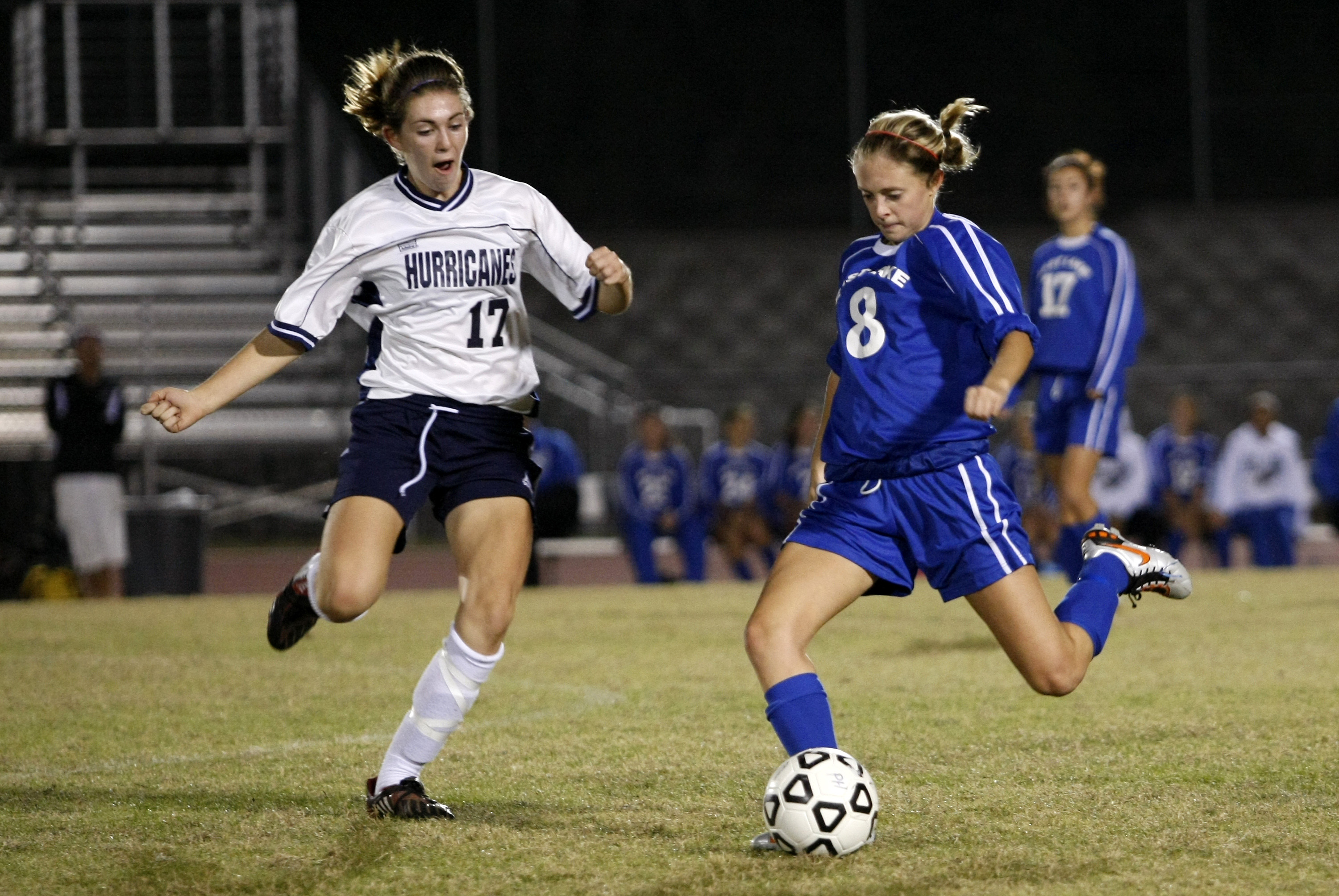 Palm Harbor University High's Kelly Phipps (17) and East Lake High's Meghan Dodge (8) battle for possession during the Hurricane Watch Soccer Tournament final on Friday, Dec. 17, 2010 at Palm Harbor University High School in Palm Harbor, FL. BRIAN BLANCO/Special to the Times